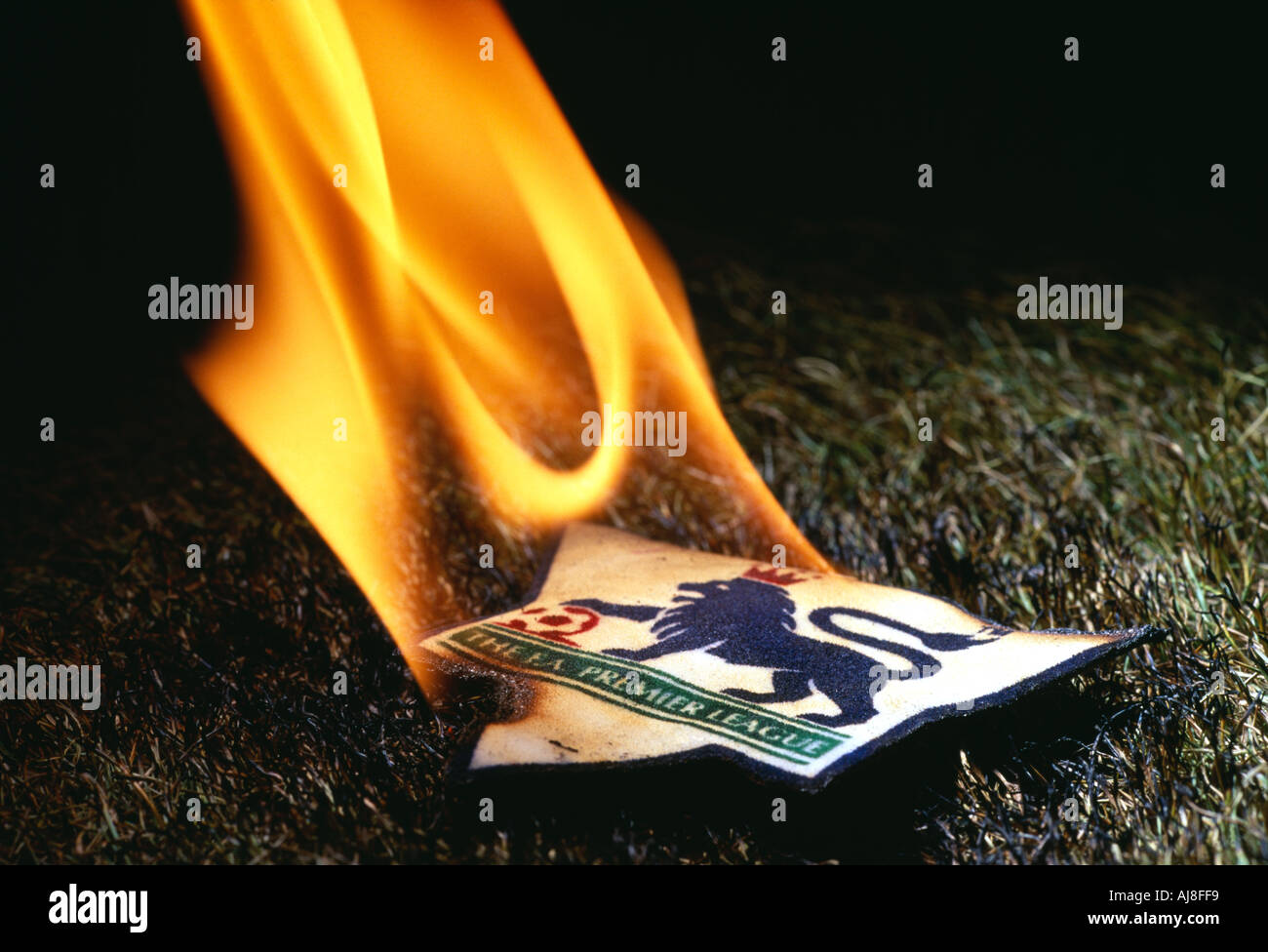 The Premiership in Flames - Stock Image