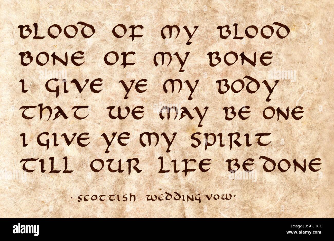 Medieval scottish wedding vow written in calligraphy stock photo medieval scottish wedding vow written in calligraphy junglespirit Images