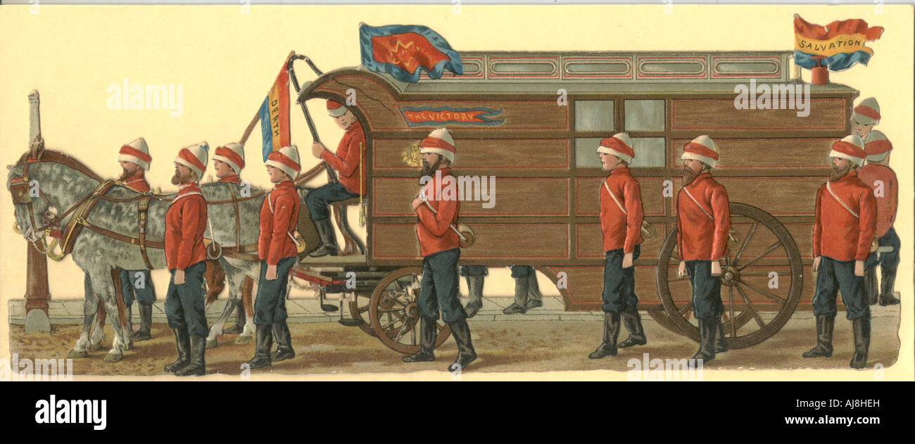 Chromolithographed diecut scrap of Salvation Army wagon circa 1880 - Stock Image