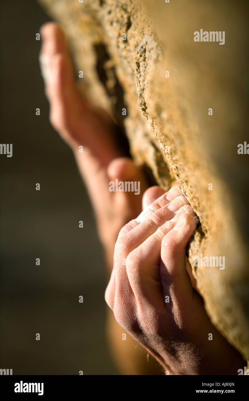 Climber's hands gripping onto rock. - Stock Image