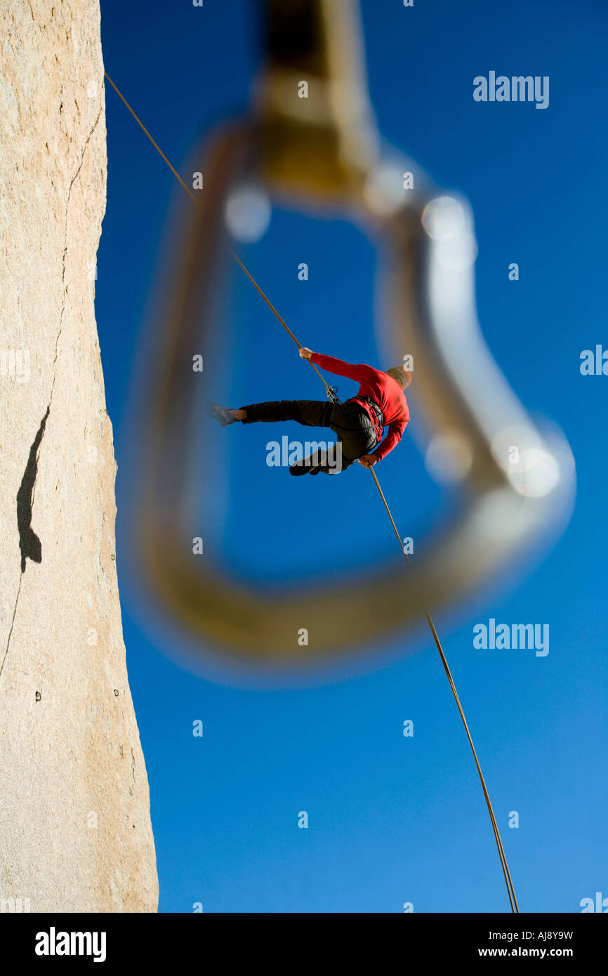 Rappel framed by quickdraw - Stock Image