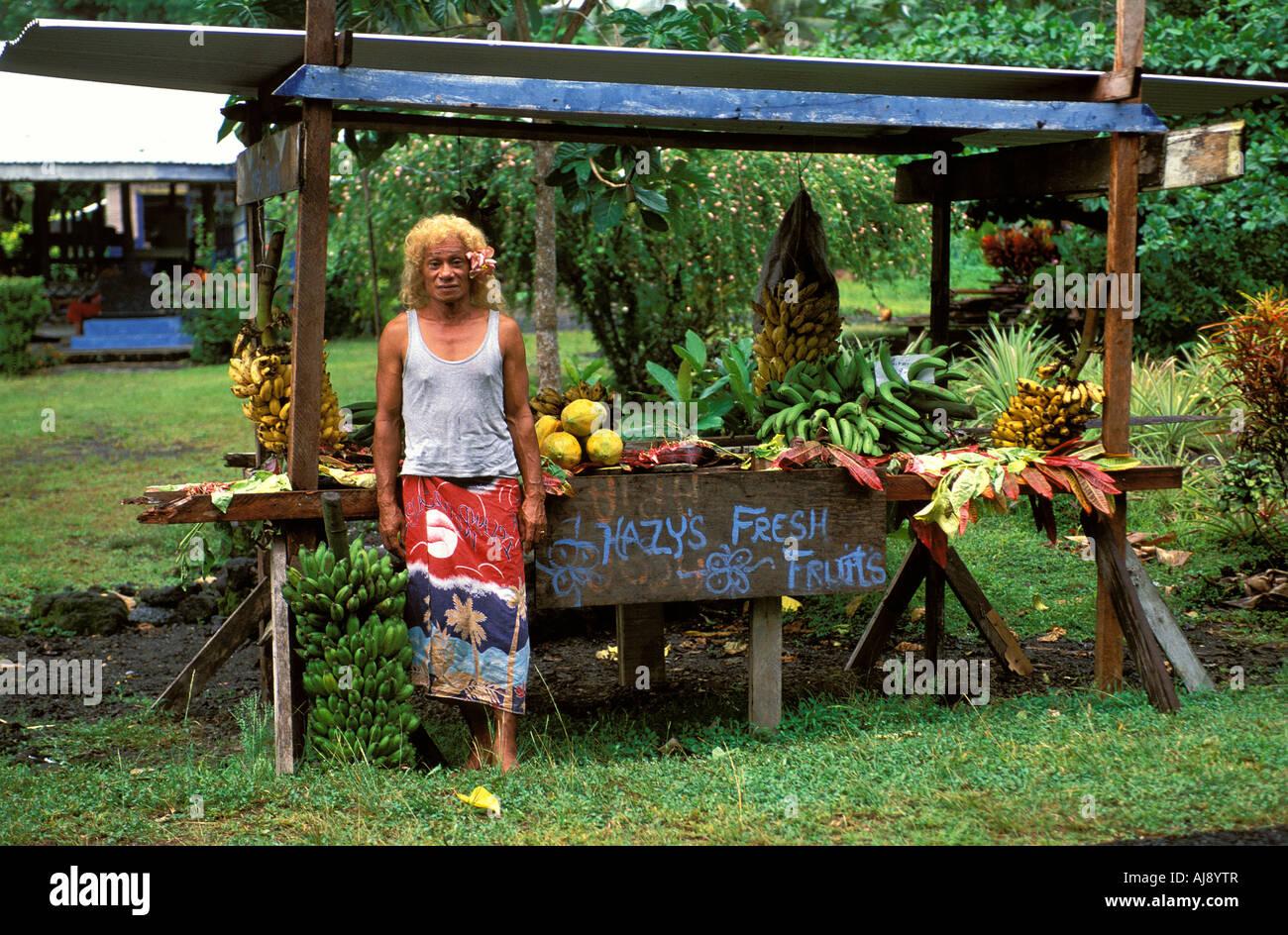 Samoa a fa afafine a samoan transvestite selling fruit - Stock Image