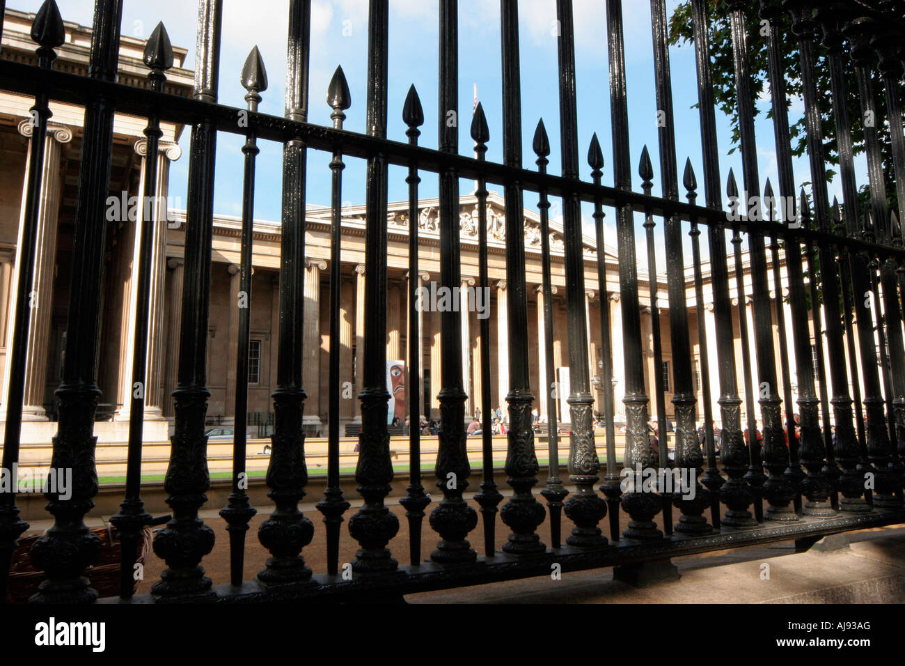 The British Museum, protected by iron railings outside the main entrance Stock Photo