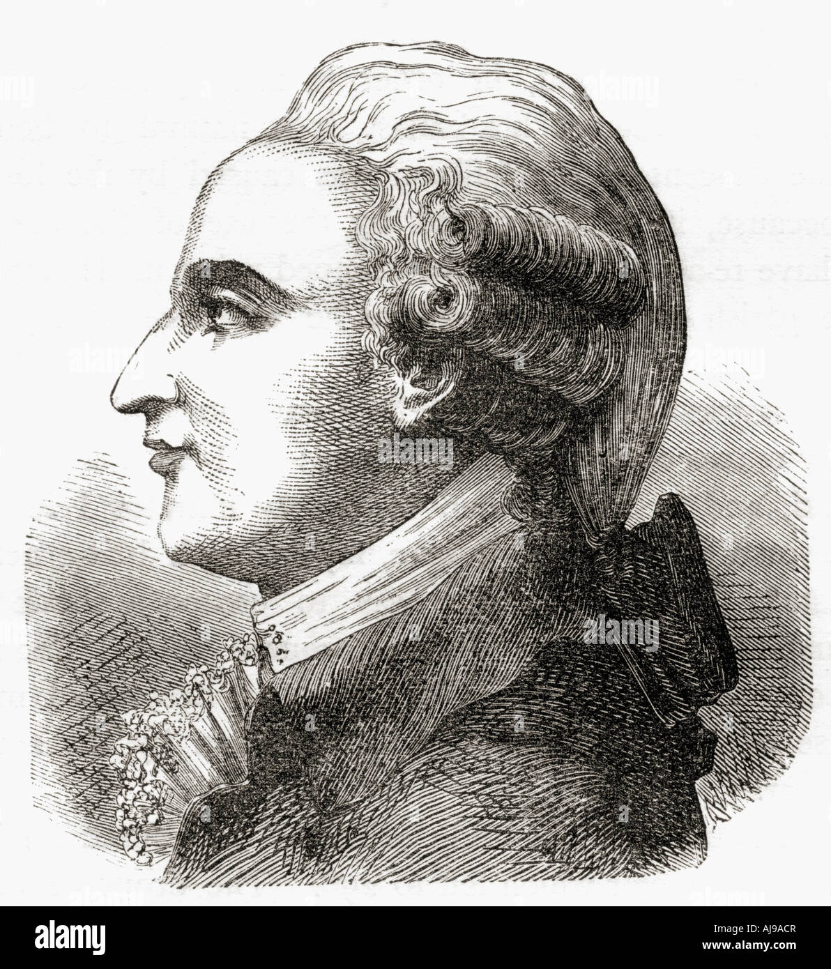 Jean-Pierre [François] Blanchard, 1753 – 1809. French inventor, pioneer in balloon flight. - Stock Image