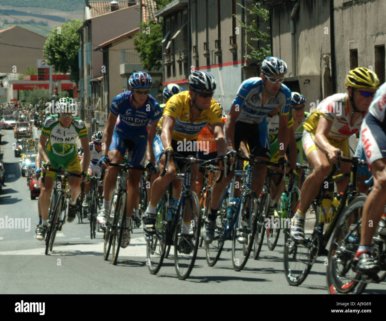Lance Armstrong riding in the main pack on his way to winning his seventh Tour  de 57ab738f9