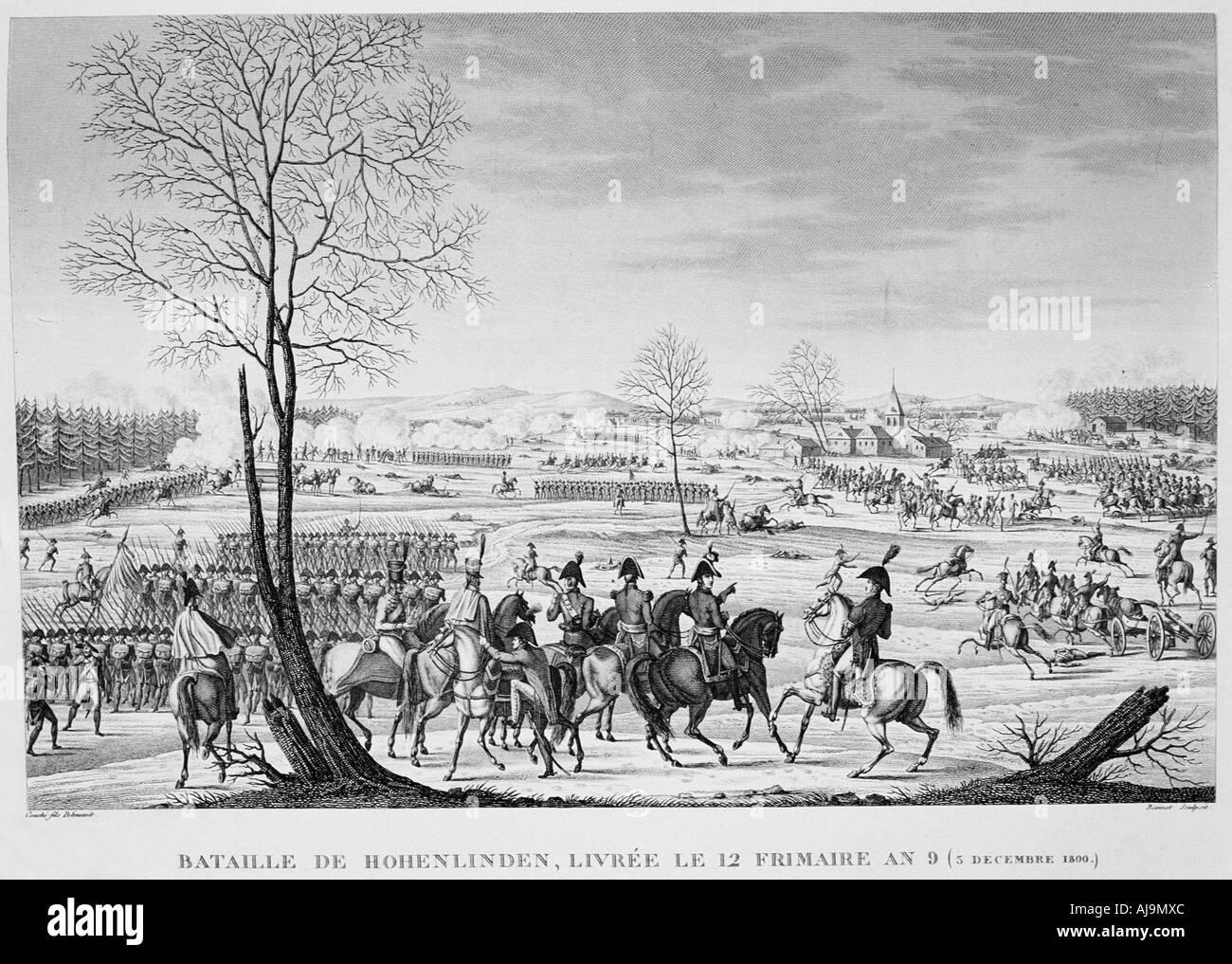 'Battle of Hohenlinden', 3 December, 1800. Artist: Anon - Stock Image