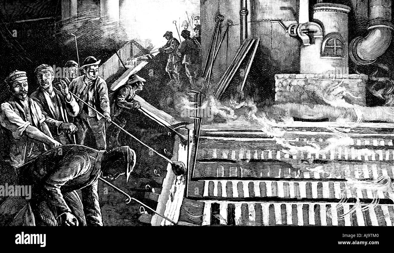 Tapping a blast furnace and casting iron into pigs, c1900. Artist: Anon - Stock Image