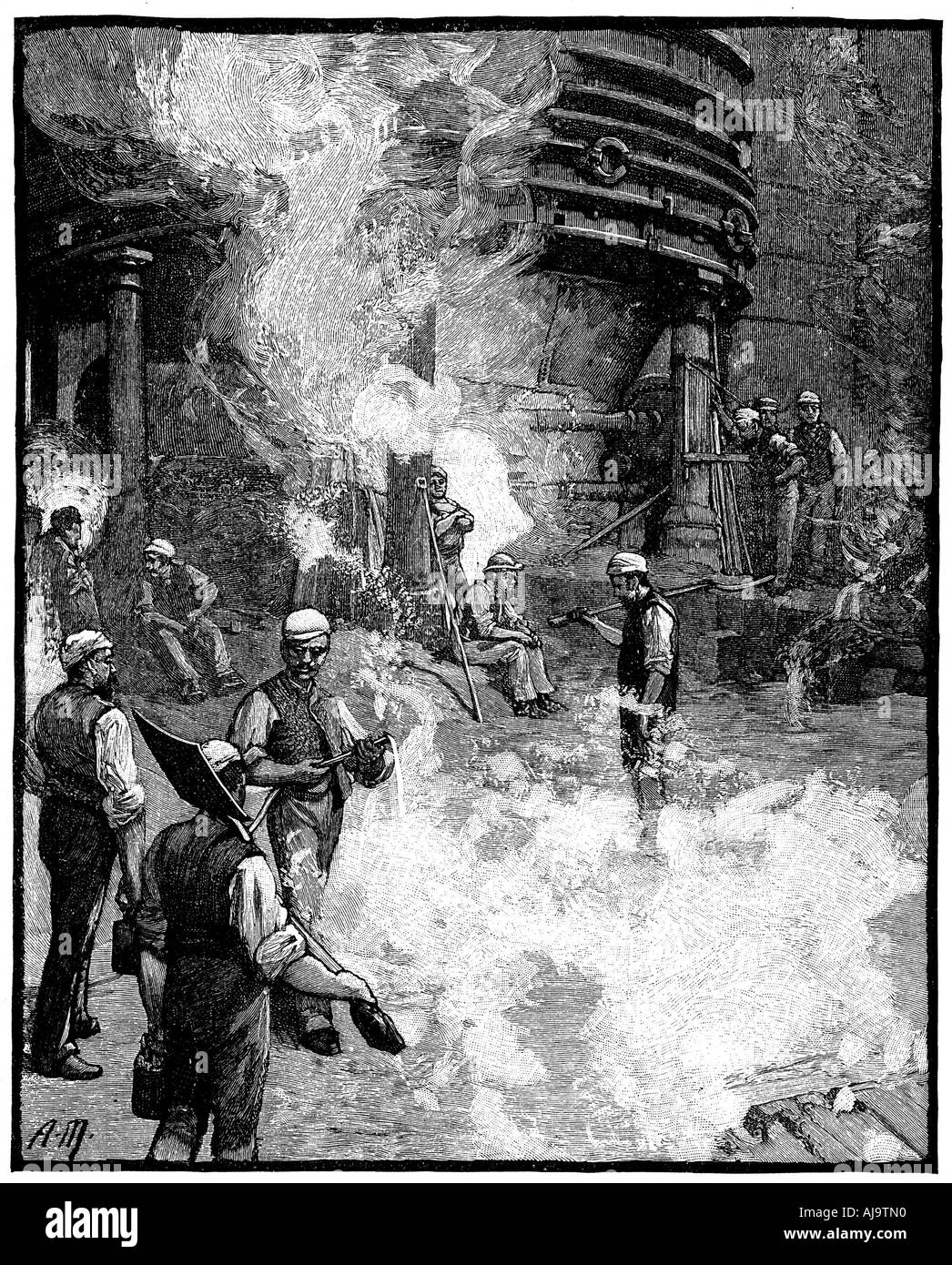 Tapping blast furnace and casting iron into pigs Siemens iron and steel works Wales 1885  - Stock Image