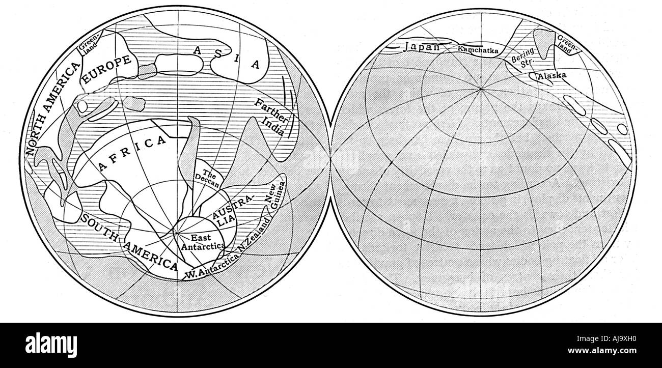 Diagram of the Earth during the Carboniferous period, 1922. Artist: Unknown Stock Photo