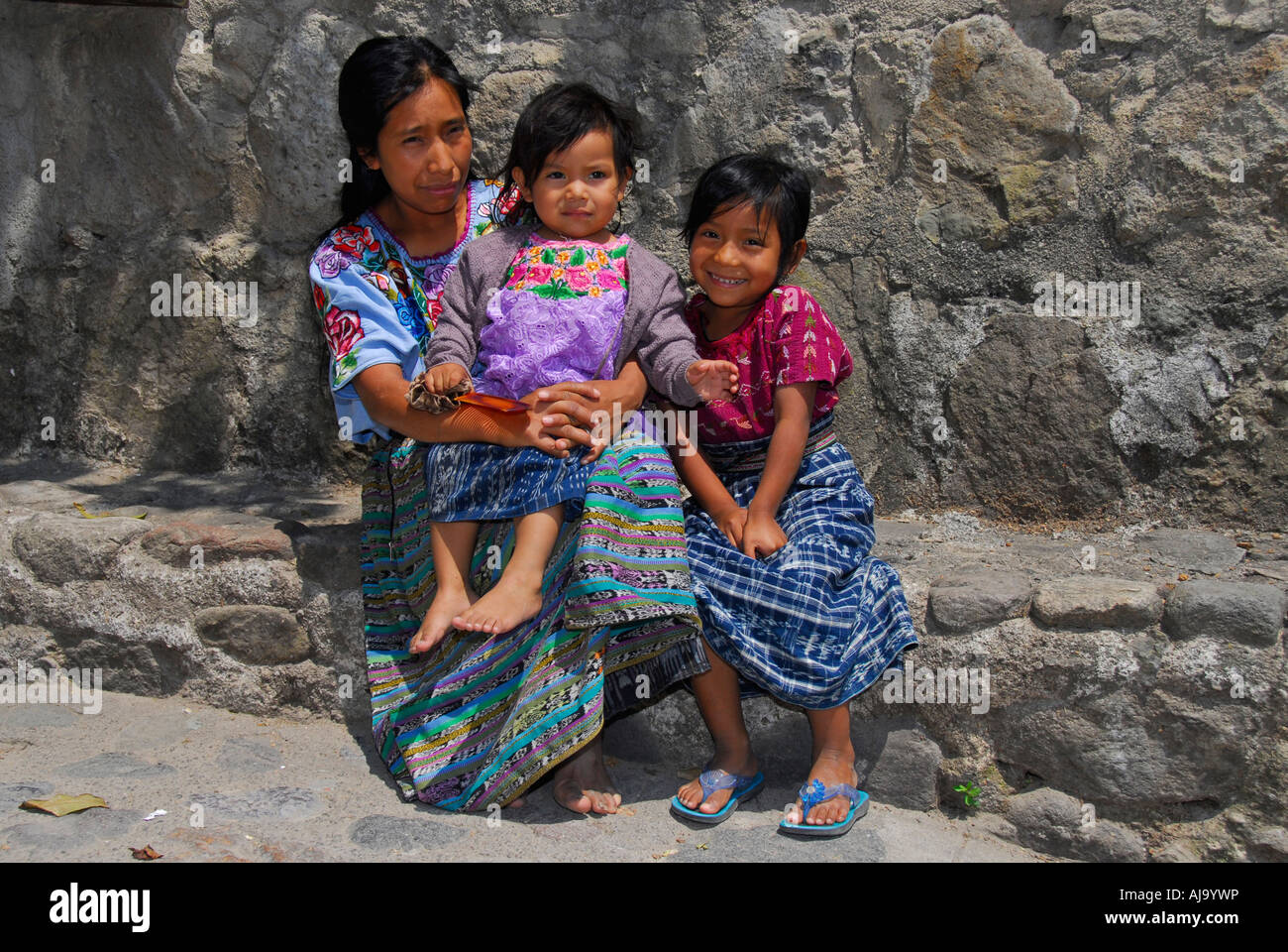 Indigenous family in traditional Mayan dressStock Photo