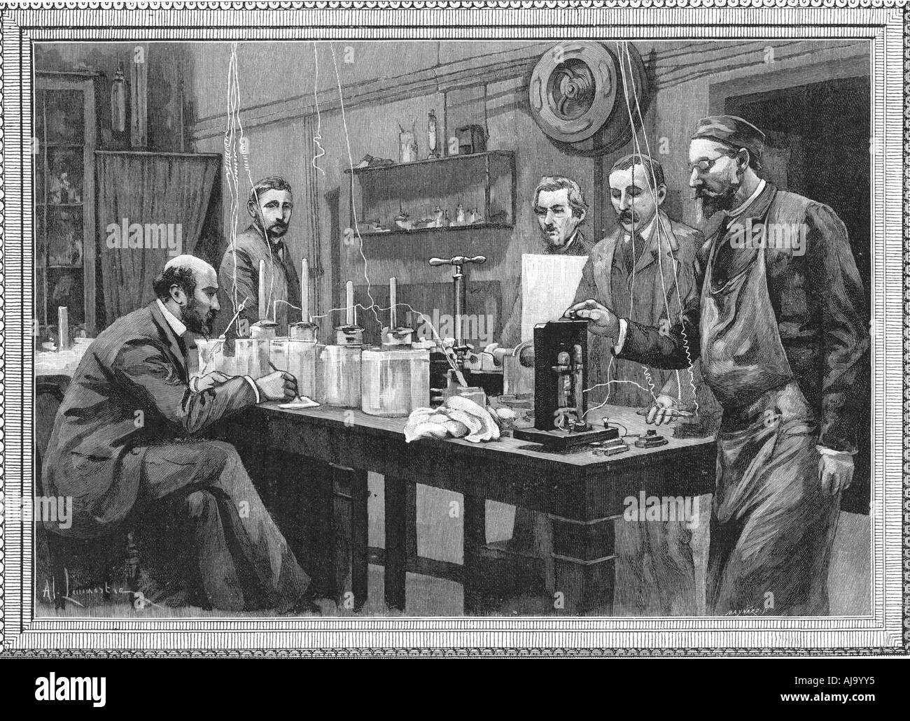 Physics research laboratory at the Sorbonne Paris 1895  - Stock Image