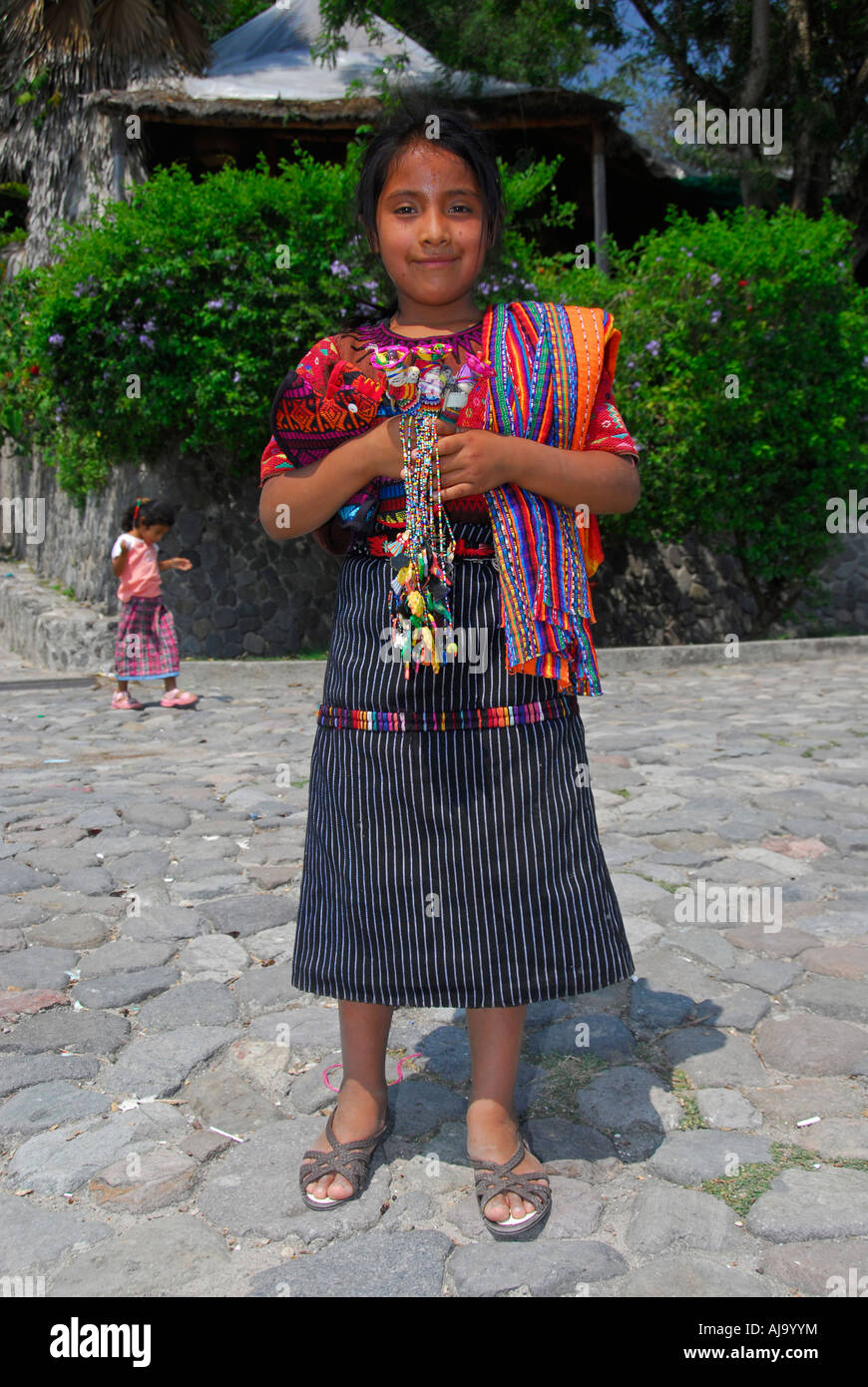 Indigenous girl in traditional Mayan dress Stock Photo