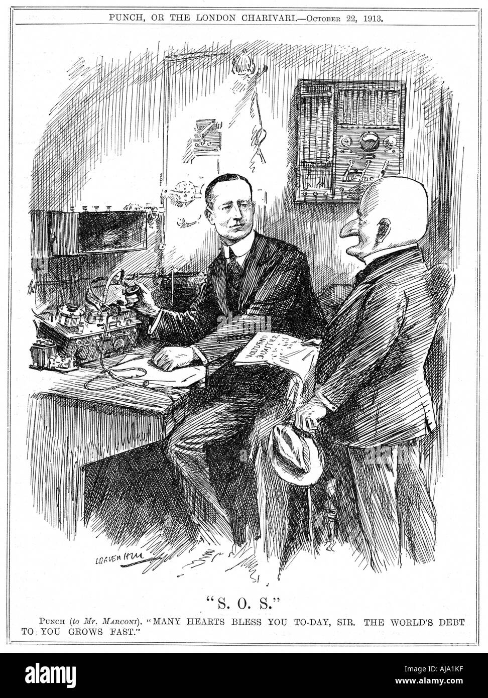 Mr Punch thanking Marconi for wireless telegraphy which was saving lives at sea, 1913. Artist: Leonard Raven-Hill Stock Photo