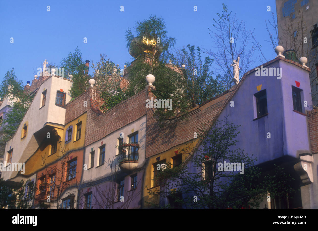 imaginative colored coloured facade of th Hundertwasser House Vienna Wien Austria Oesterreich Europe Europa  Stock Photo