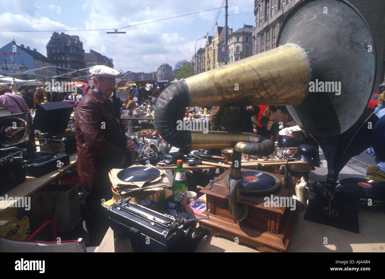 antique gramophone phonograph Flea market Vienna Wien Austria Oesterreich Europe Europa  - Stock Image