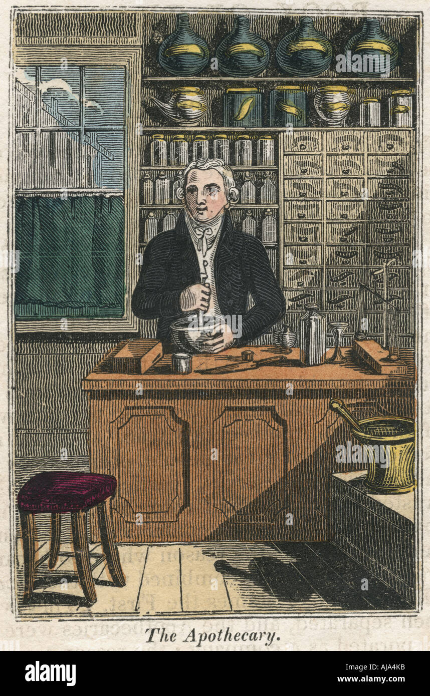 The apothecary using pestle and mortar to prepare drugs, 1823. Artist: Unknown Stock Photo