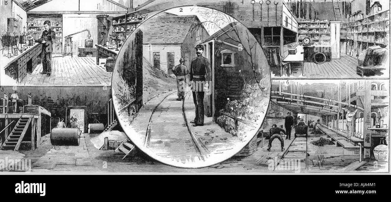 Workers at Nobel Explosives Company Limited Ardeer Ayrshire 1884  - Stock Image