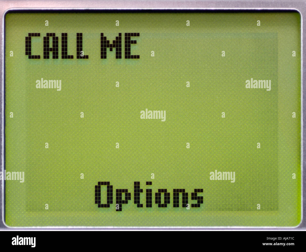 Cell Phone Display with Call Me Message, Close Up. - Stock Image