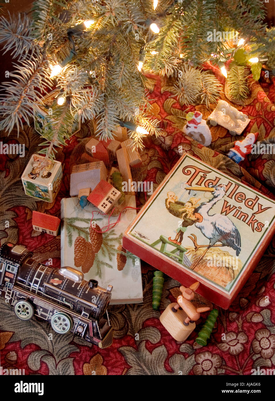 Vintage Toys Under A Christmas Tree With Lights Stock Photo 8386101