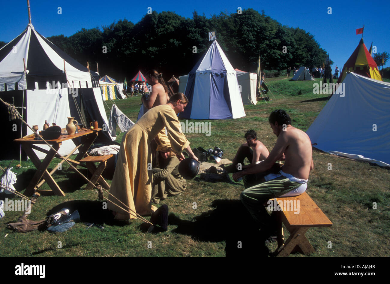 Medieval village at Herstmonceux castle with a traders row and period demonstrations - Stock Image