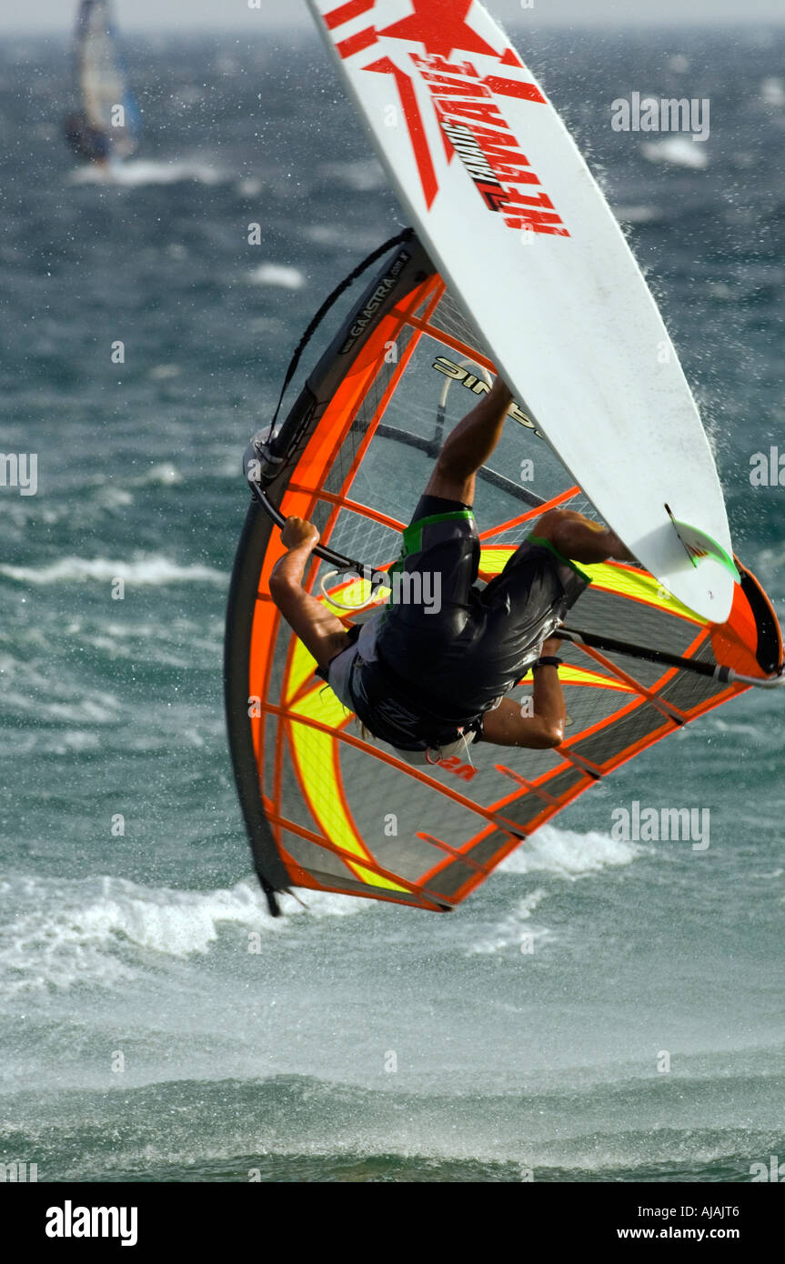 windsurfing doing a looping - Stock Image