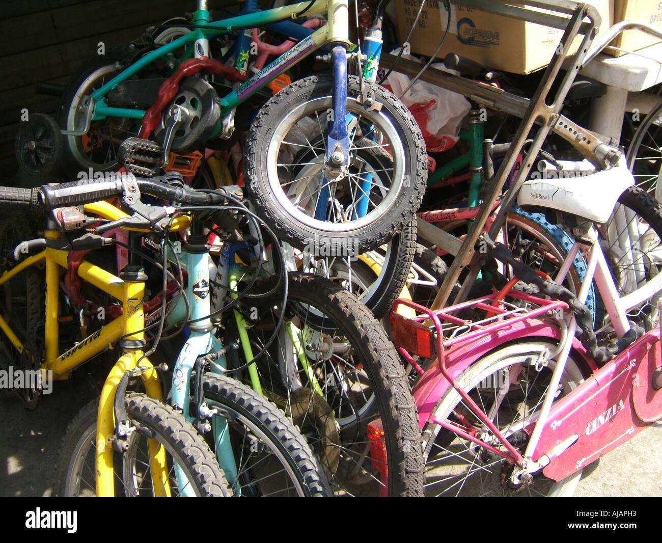 pile of second hand bikes Stock Photo: 8387218 - Alamy