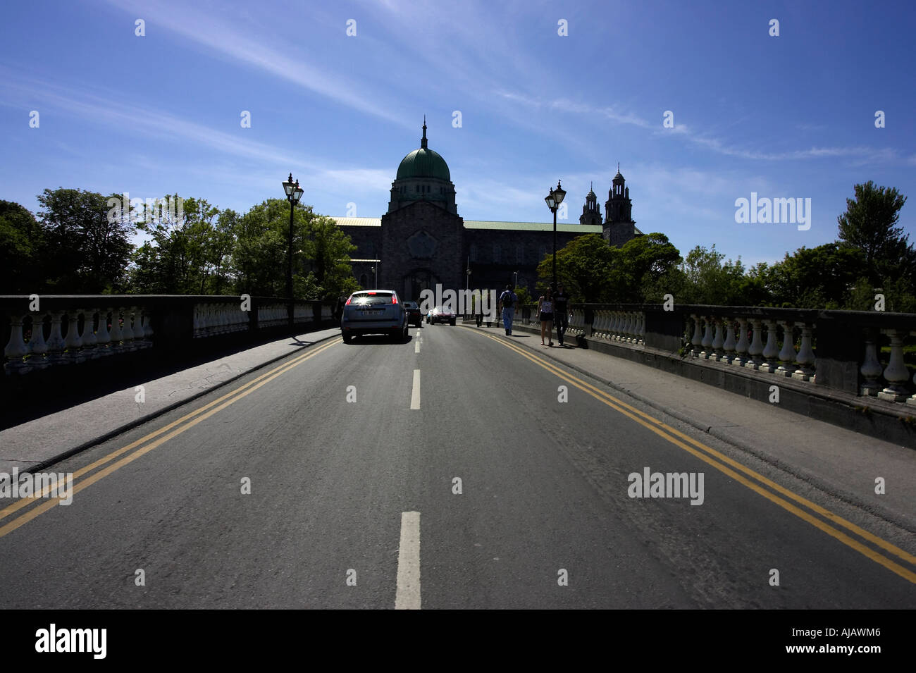 cathedral of our lady assumed into heaven and St Nicholas Galway roman catholic cathedral from road on the salmon weir bridge - Stock Image