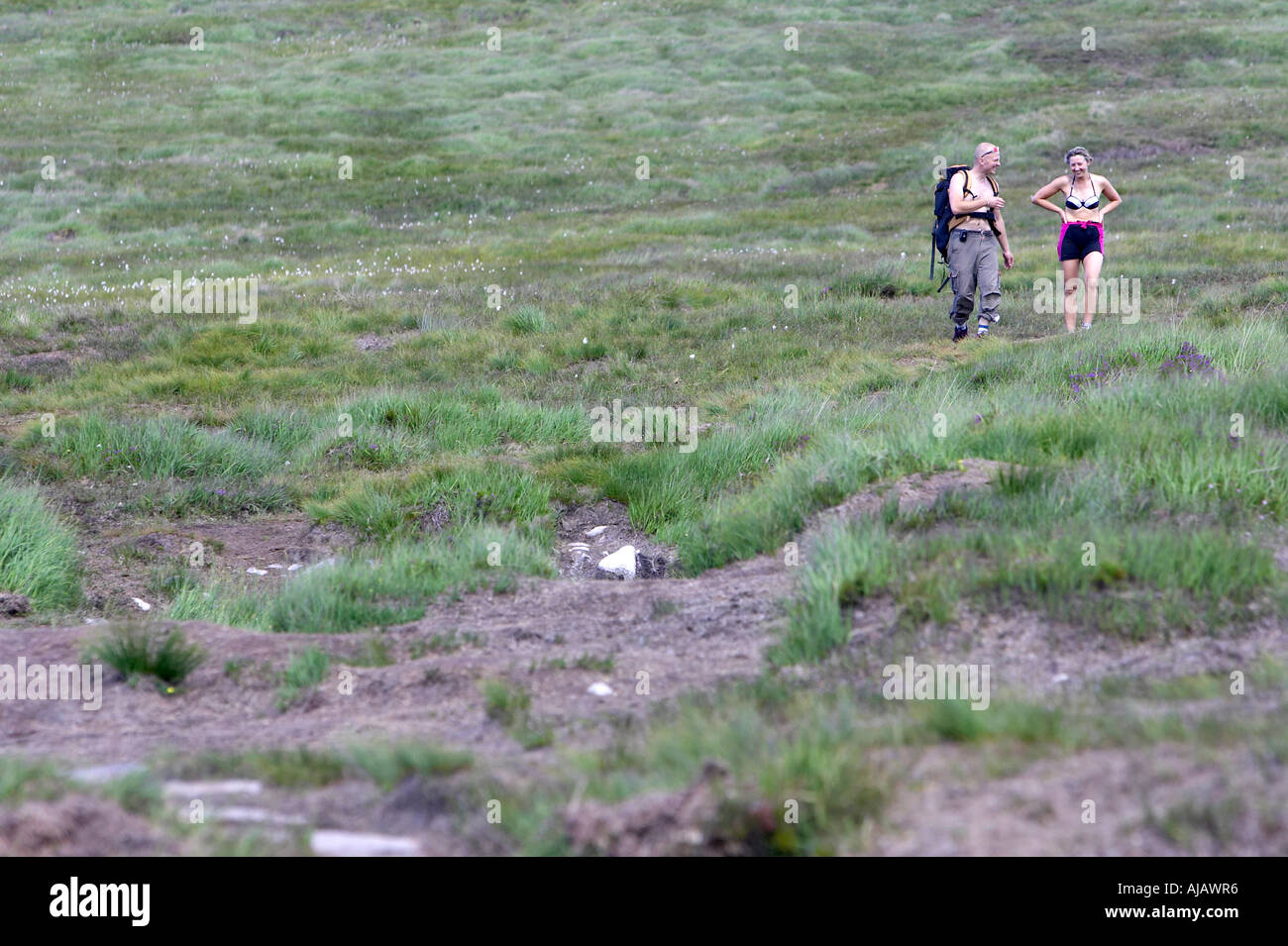 summer male and female climbers walking through peat bog at base of Errigal mountain donegals highest peak - Stock Image
