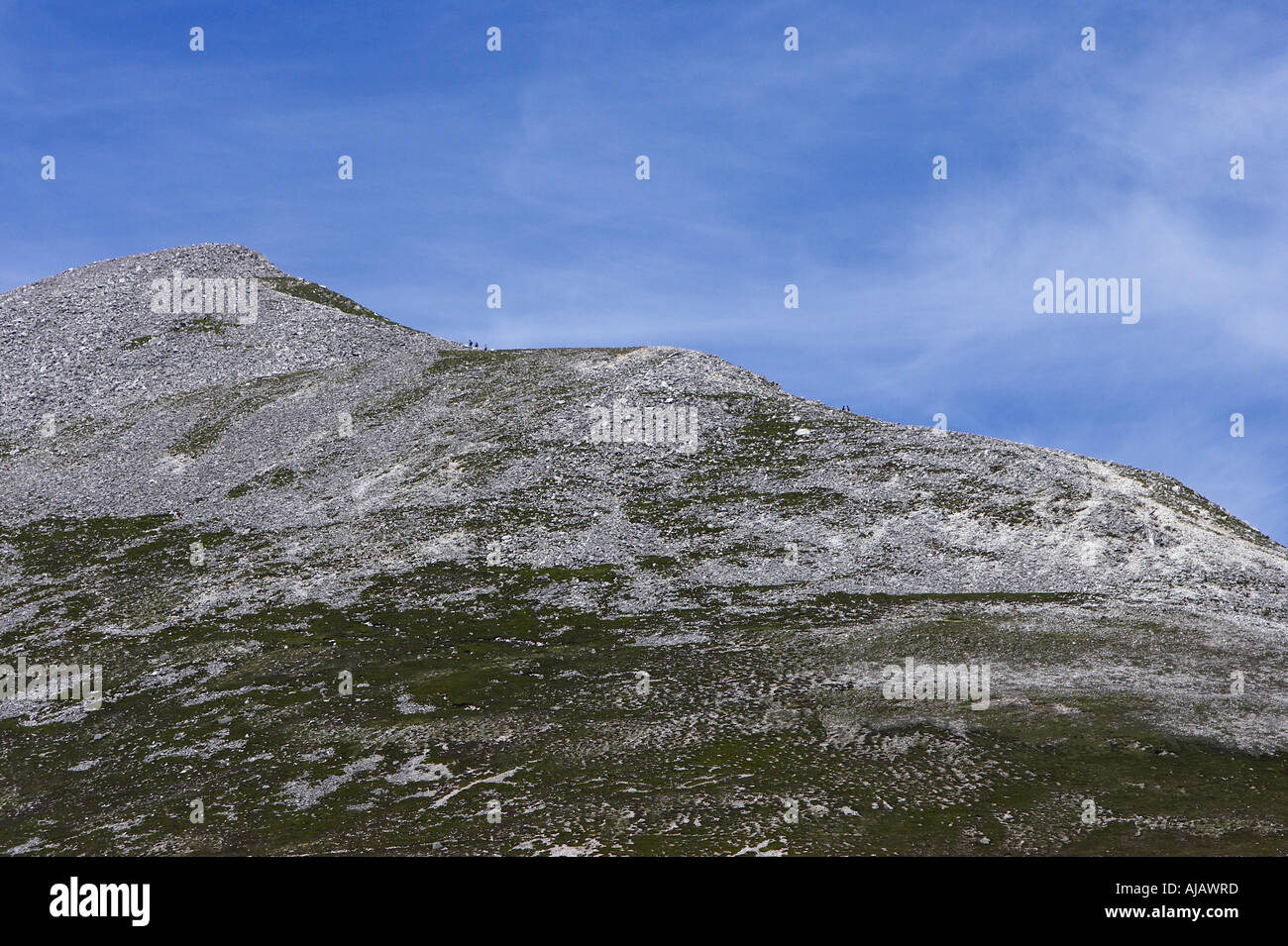 ridge and peak of Errigal mountain donegals highest peak against a blue sky between dunlewey and gweedore - Stock Image