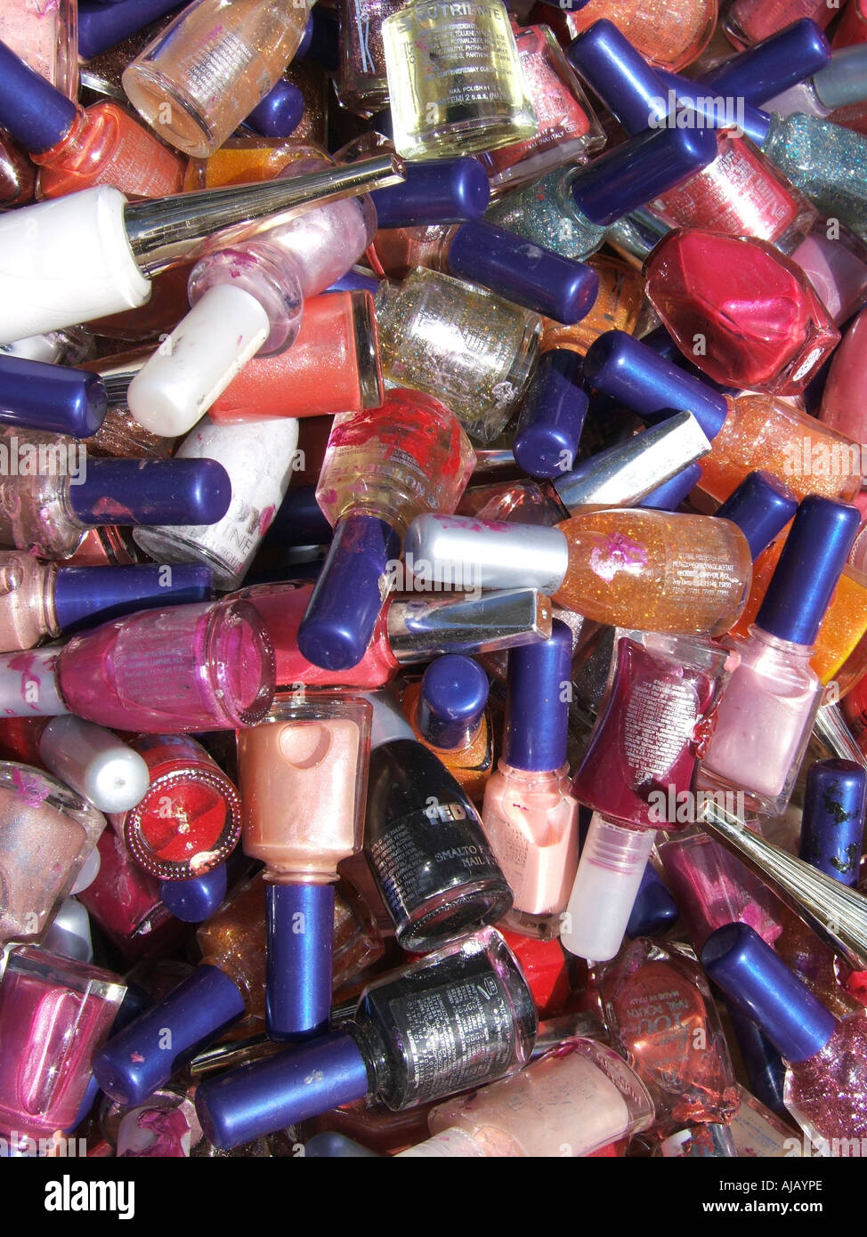 lots of nail varnish bottles on market stall Stock Photo: 8388269 ...