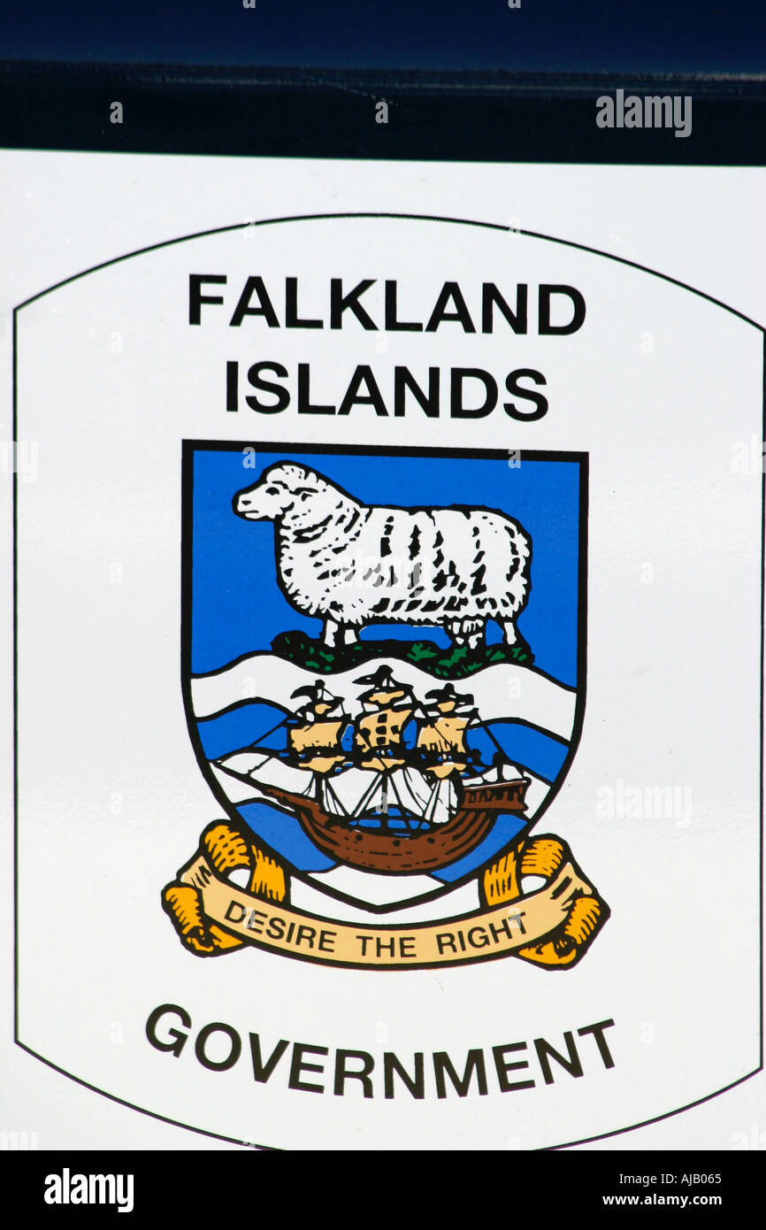 Falkland Islands  crest in the capital ,Stanley ,South Atlantic Stock Photo