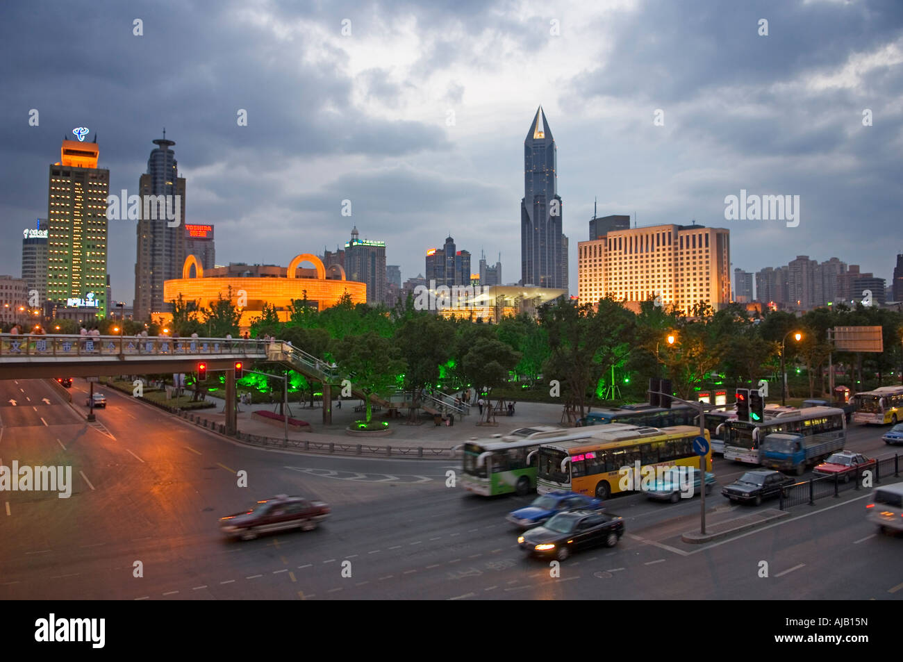 Shanghai Cityscape with Tomorrow Square Tower and People s Square at Night - Stock Image