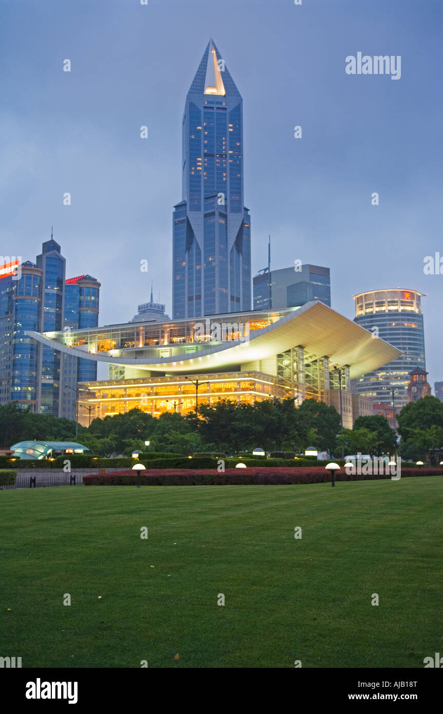 Shanghai Grand Theatre and Tomorrow Square Tower at Night - Stock Image