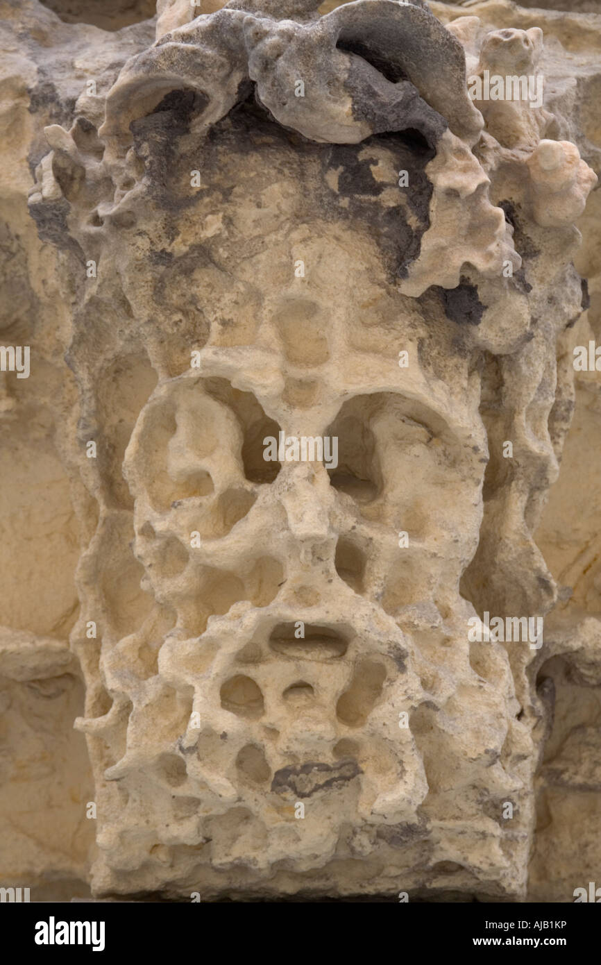 Eroded stone face in the ruined opera house, Valletta, Malta - Stock Image