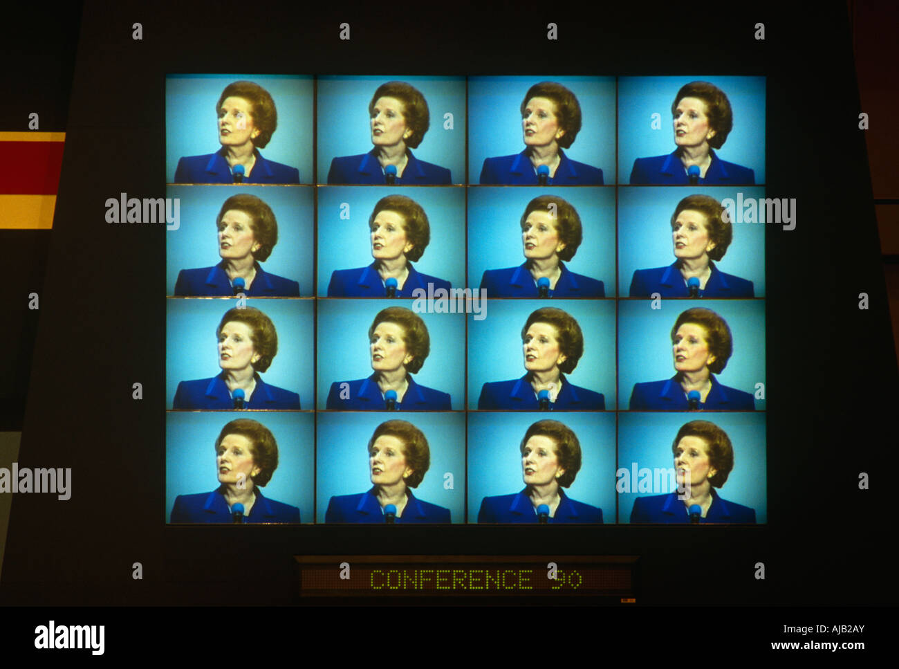 Multi-screen TV images of Margaret Thatcher's speech last speech as PM at Tory Party conference before deposed weeks Stock Photo