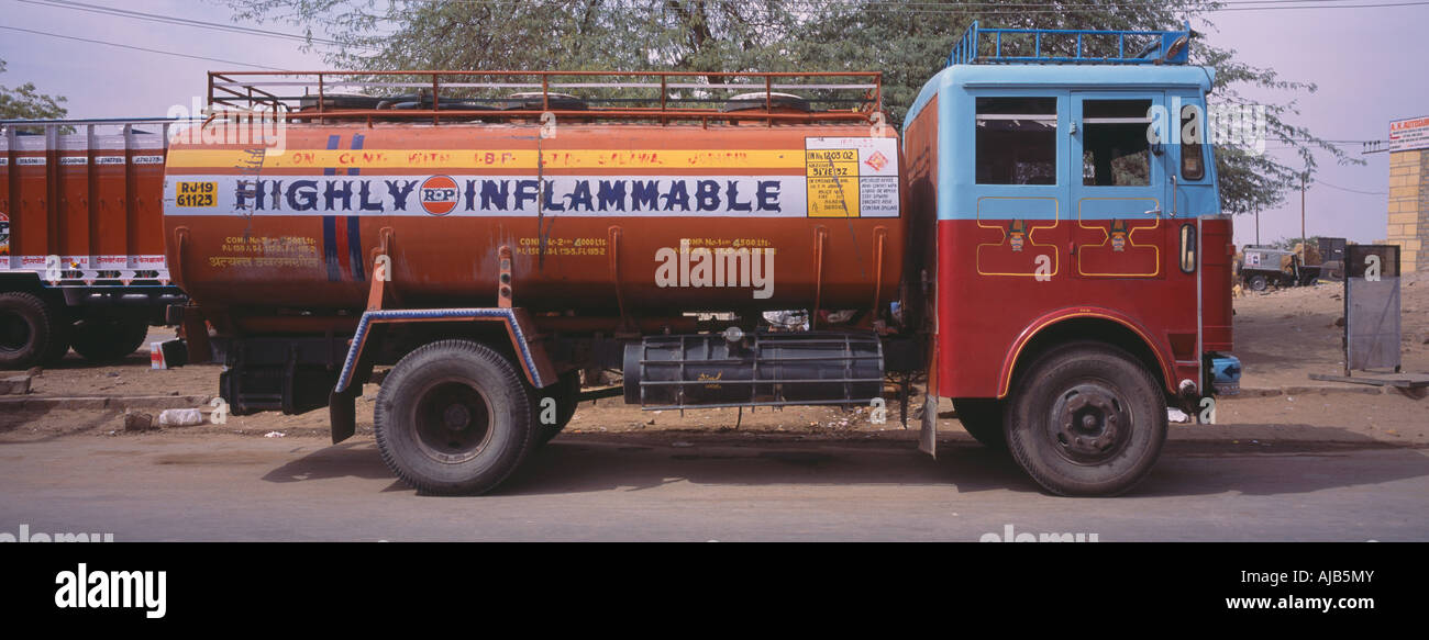 old inflammable oil tanker, India - Stock Image