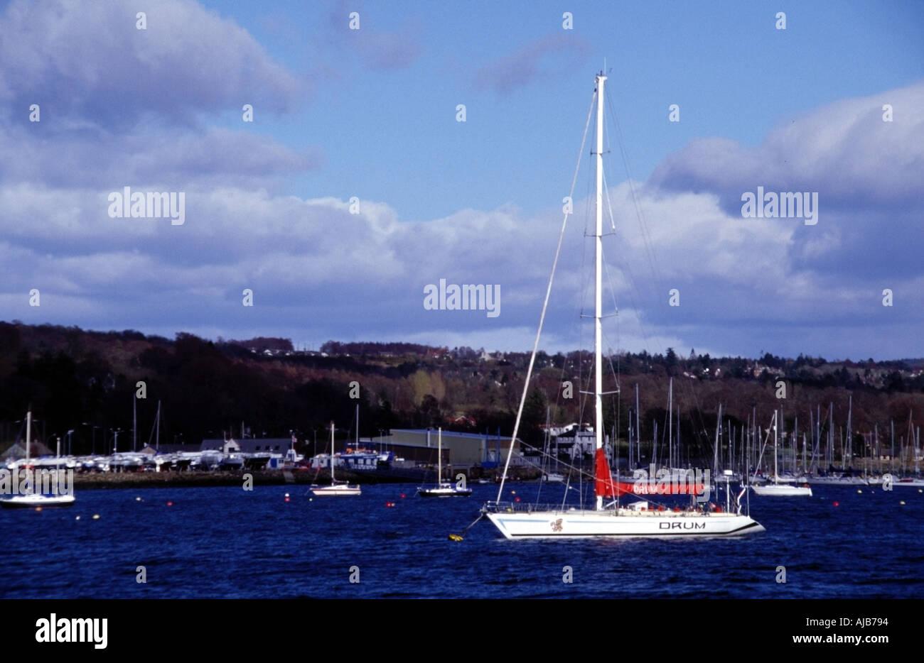 ex round the world racing yacht drum at rhu marina gareloch clyde estuary scotland europe - Stock Image