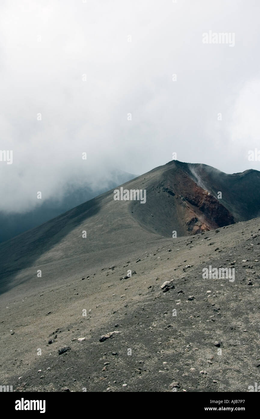 Smoke and steam emitted from Torre di Filosofo at 2920 meters erupted 2003 on the Southern slopes of Mount Etna Stock Photo