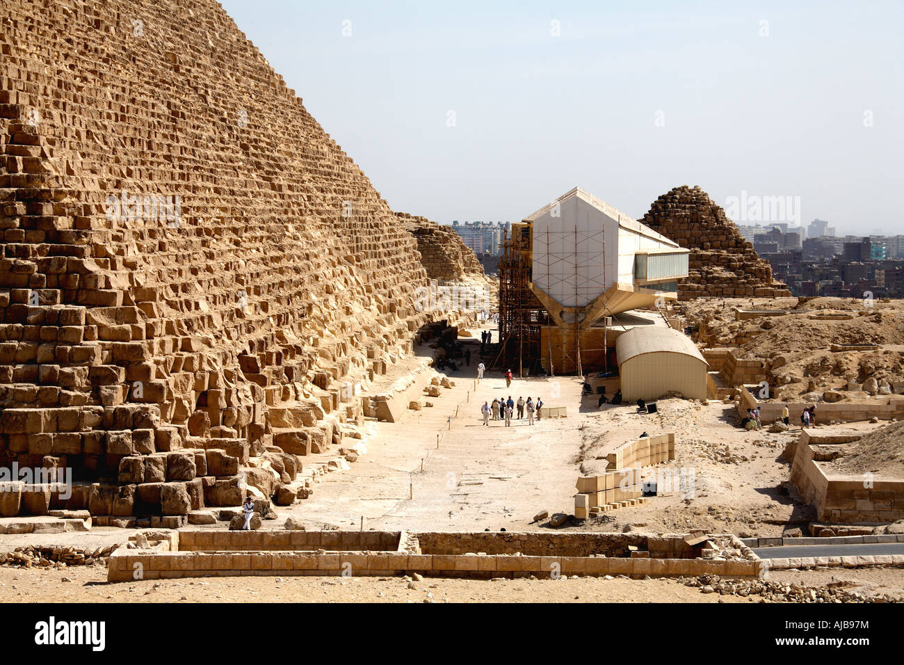 Solar Barque Museum below Great Pyramid of Khufu Cheops Giza Cairo Egypt Africa - Stock Image
