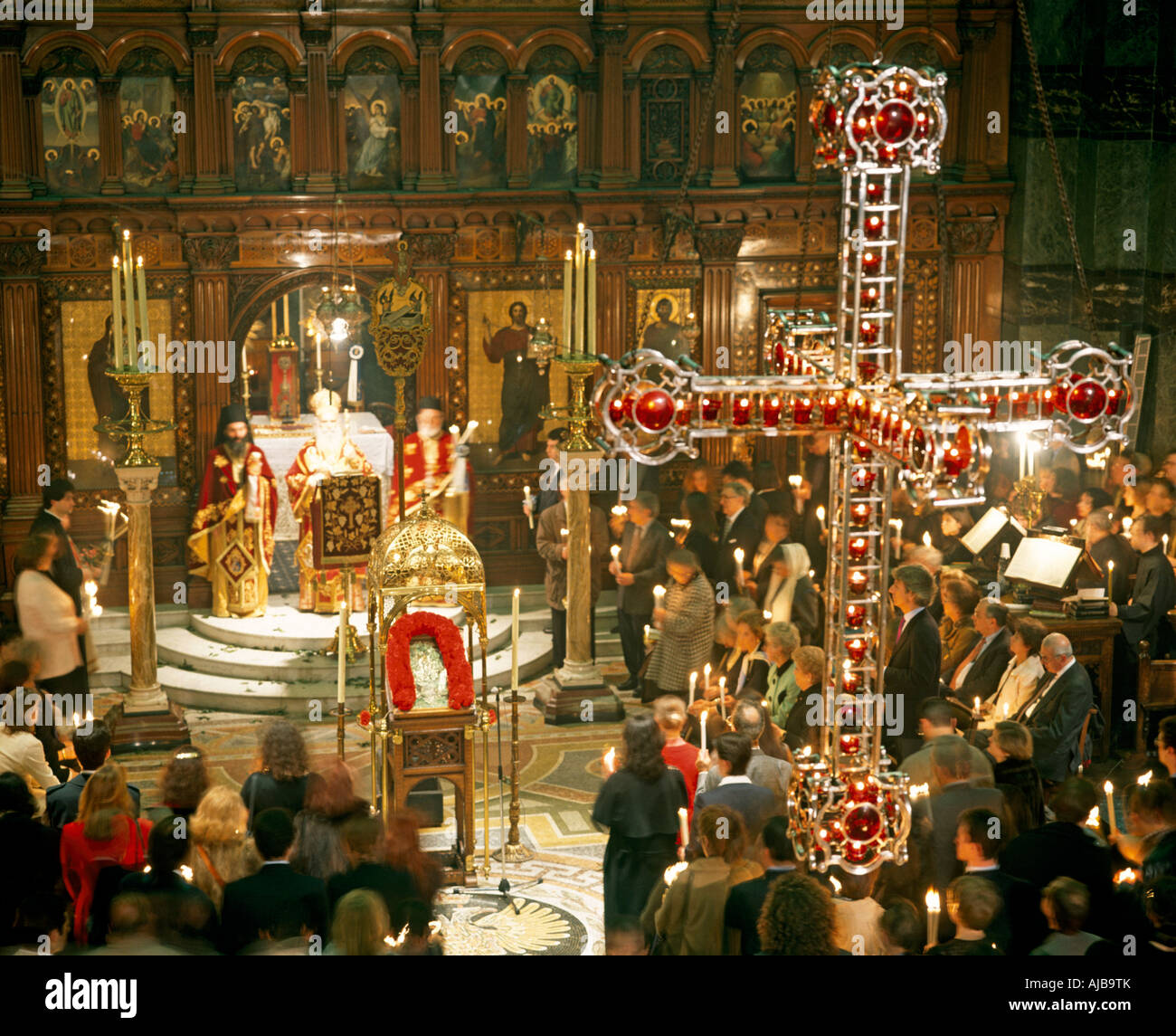 Greek Orthodox Easter Day Religious Church Service In Agia
