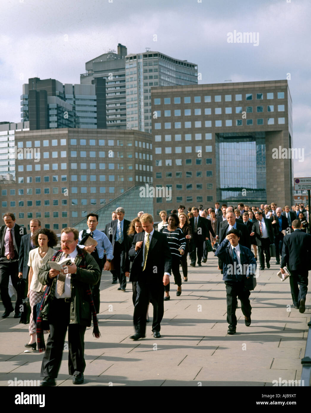 suits office. Office Workers Commuters Business Men In Suits And People Walking Across London Bridge Rush Hour O