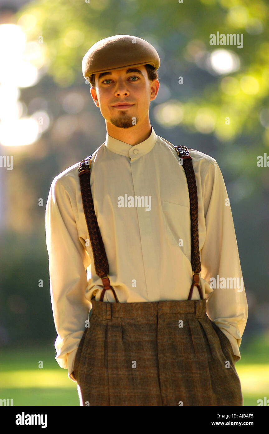 Young man wearing twenties style swing dancing costume - CSU Oval, Fort Collins, Colorado. - Stock Image