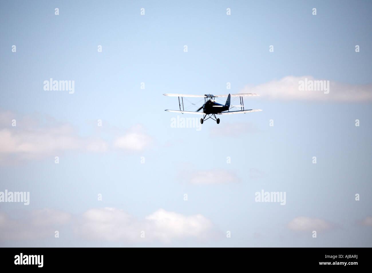 Aerial view of biplane flying from Stapleford Aerodrome Romford Essex RM4 England UK - Stock Image