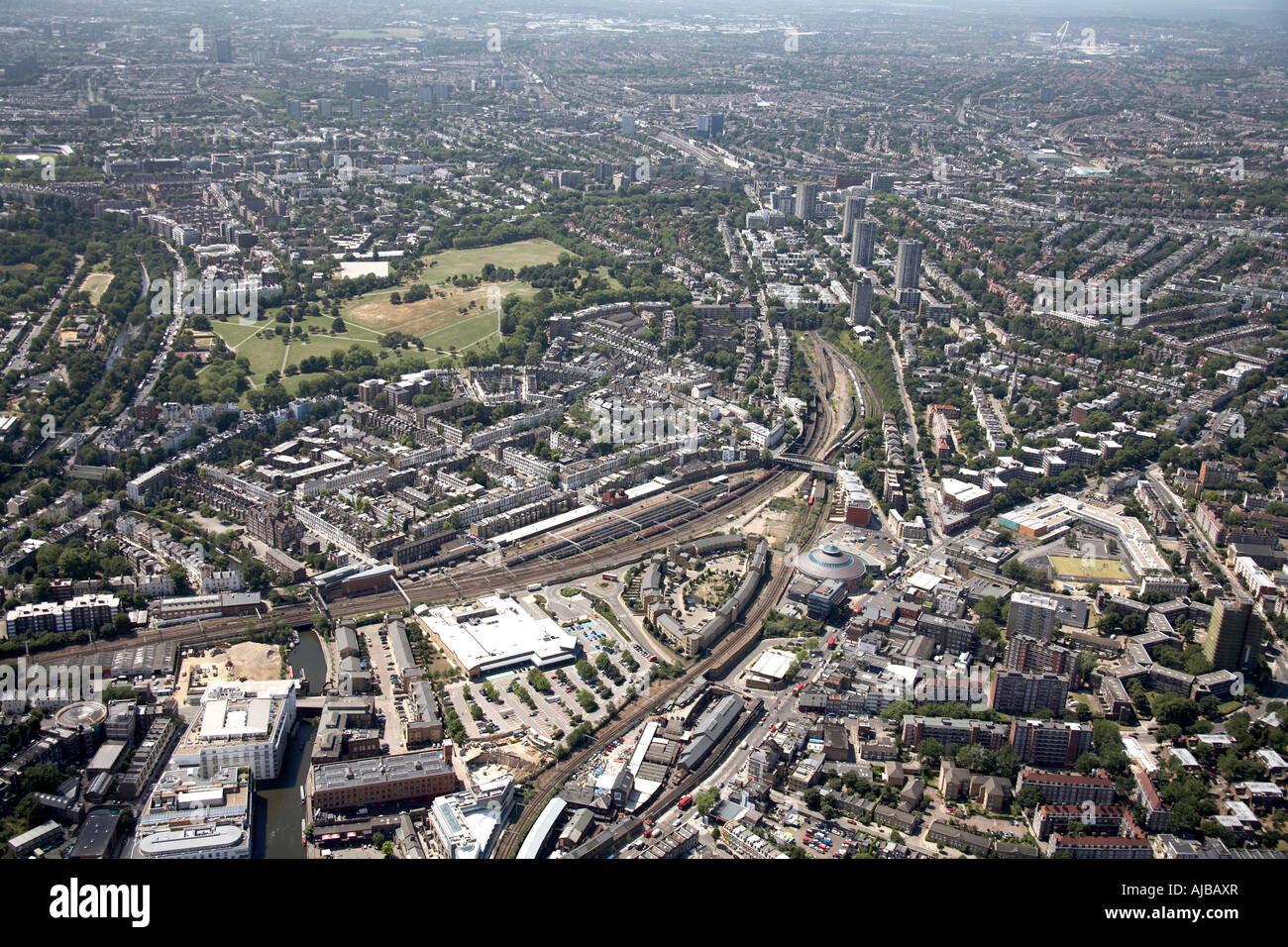 Aerial view south west of Chalk Farm Road The Roundhouse Theatre suburban housing and Primrose Hill London NW1 England - Stock Image