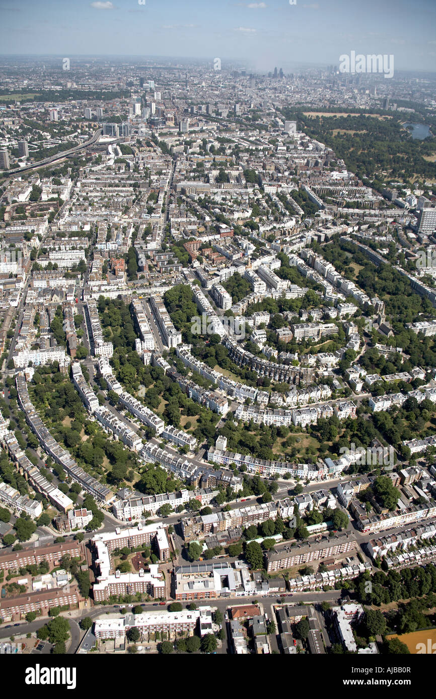 Aerial view east of Ladbroke Grove Round pond Hyde Park suburban housing Nottinghill London W2 W9 W11 NW8 England Stock Photo
