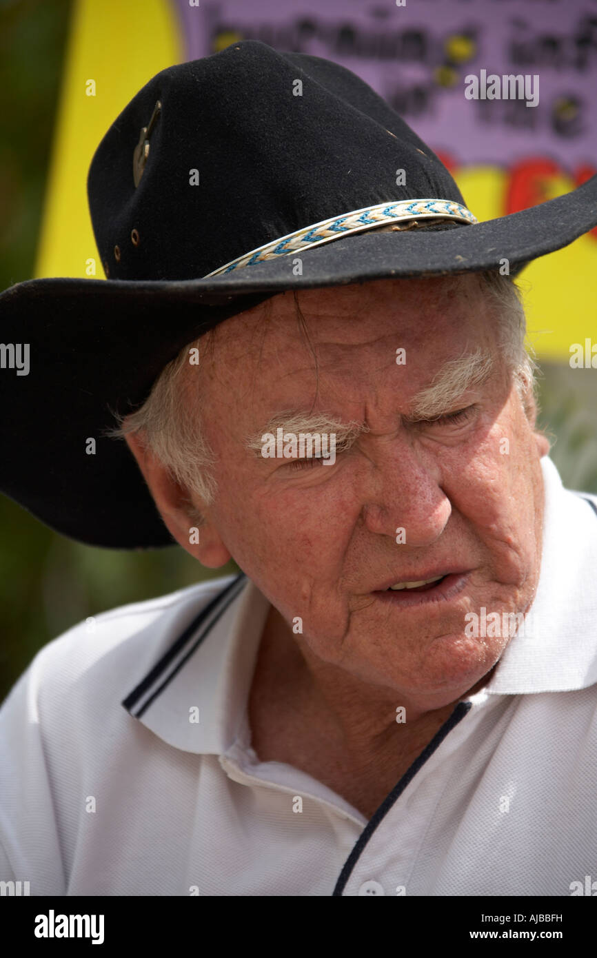 Band member with cowboy hat at Woodford Folk Festival Queensland Australia - Stock Image