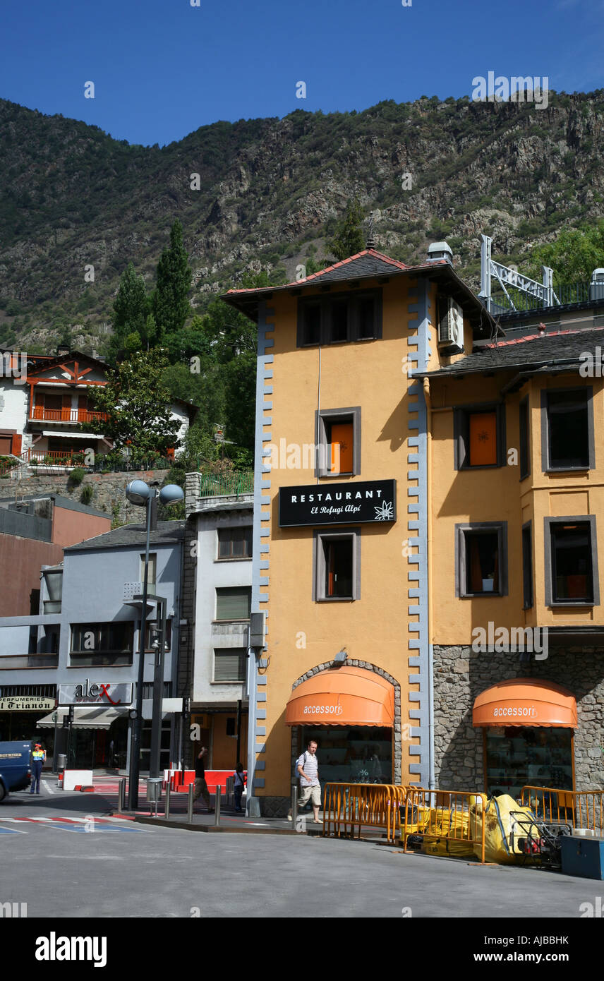 Andorra La Vella is the capital city of the principality and is a duty free shopping haven for visitors Stock Photo
