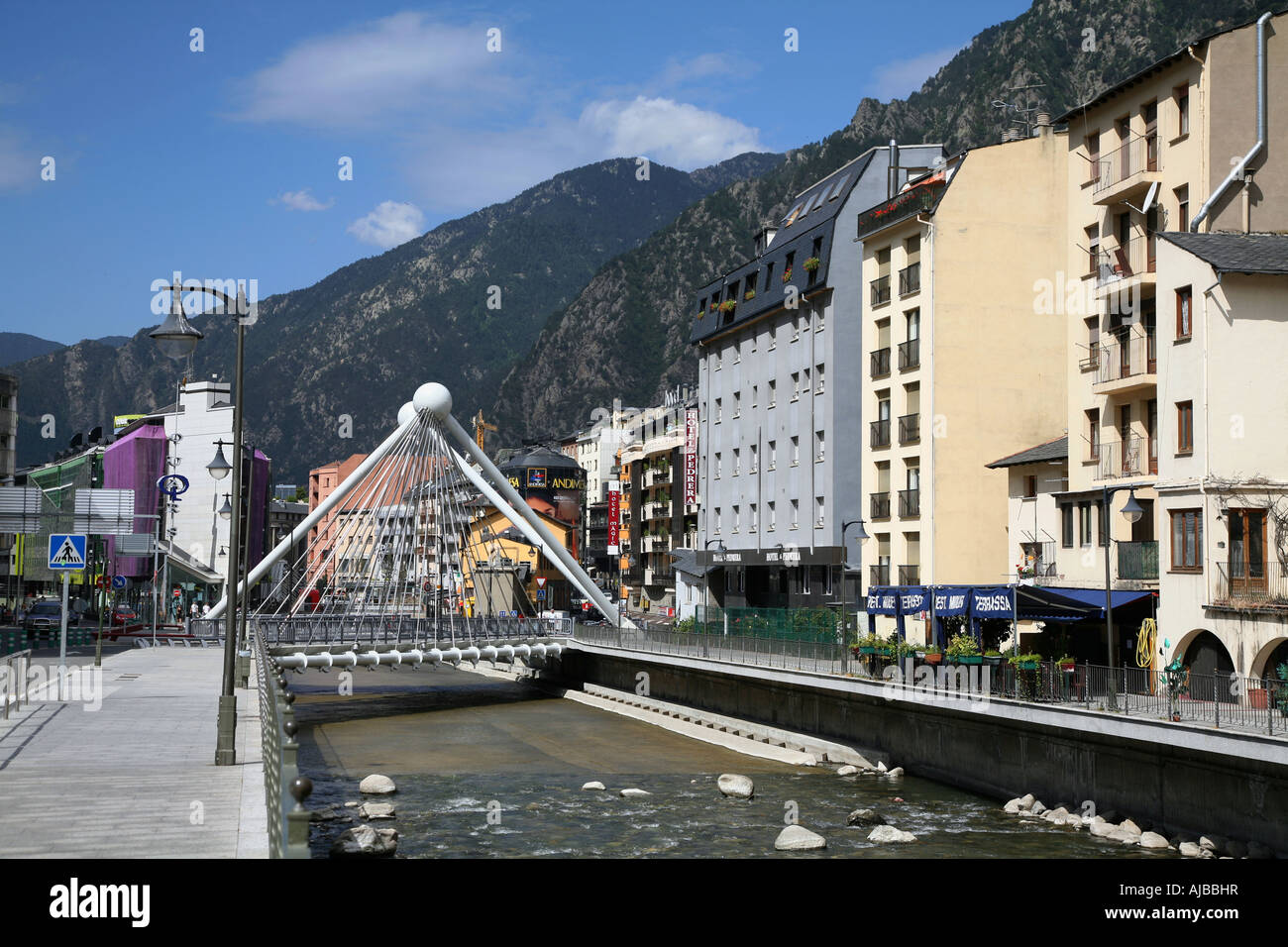 Andorra La Vella is the capital city of the principality Stock Photo