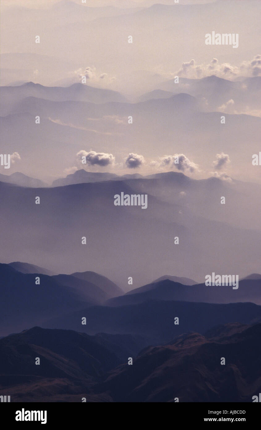 Aerial view of the Andes surrounding La Paz Bolivia whilst leaving from the capital s airport Cordillera Real Bolivia Stock Photo