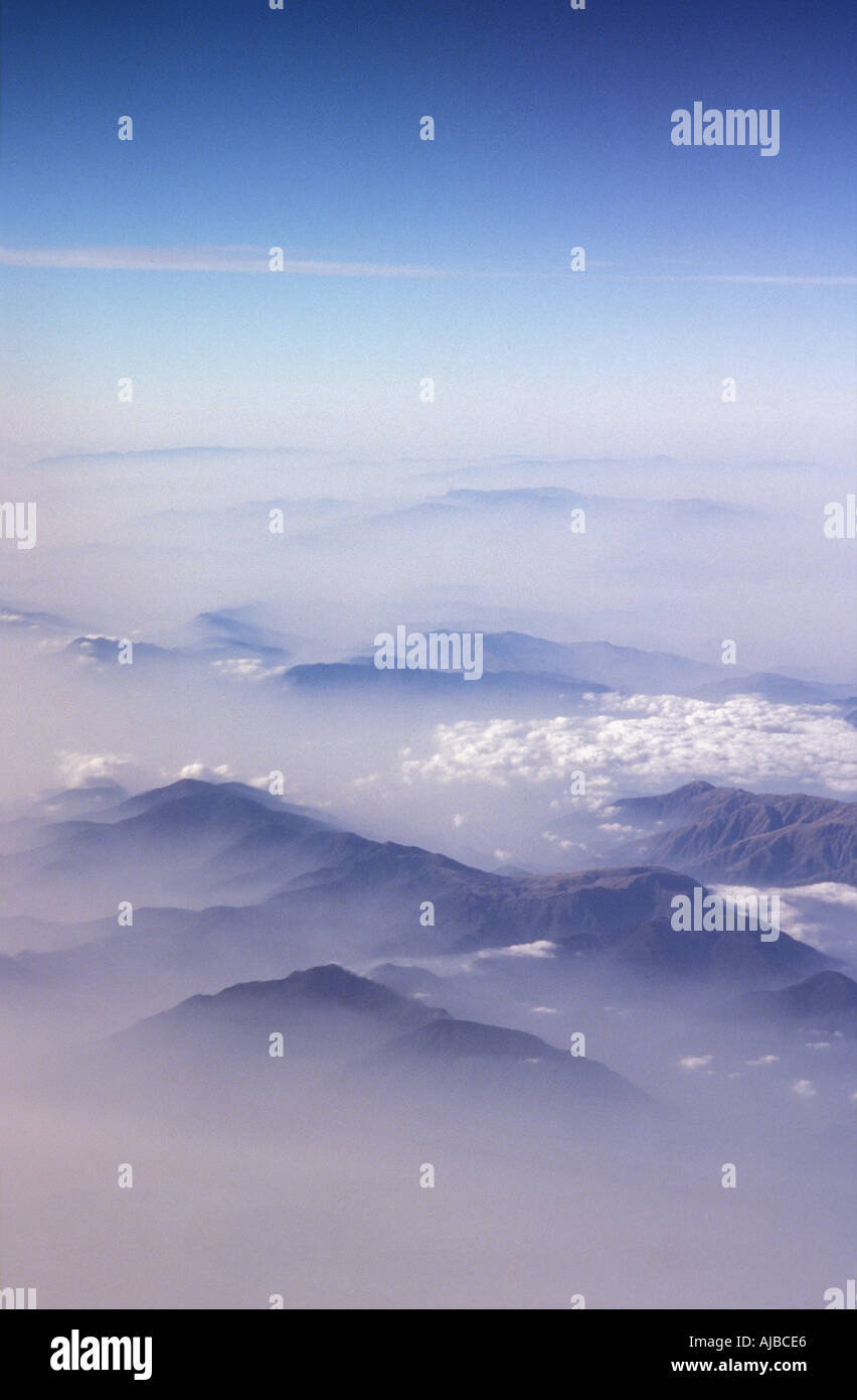 Aerial view of the Andes surrounding La Paz Bolivia whilst leaving from the capitals airport Cordillera Real Bolivia Stock Photo